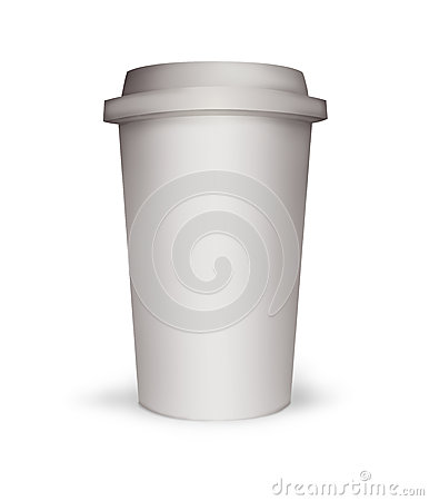 Paper coffee cup illustration on white background