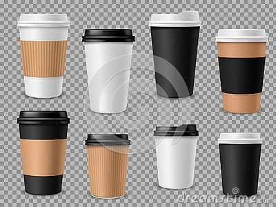Paper coffee cups set. White paper cups, blank brown container with lid for latte mocha cappuccino drinks realistic Vector Illustration