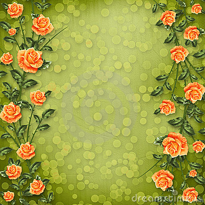 Paper for congratulation with painting rose