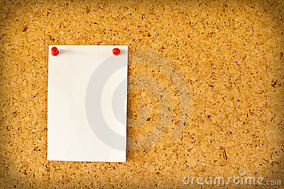 Paper on the cork board
