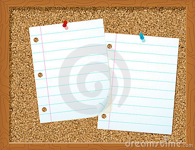 Paper on corkboard