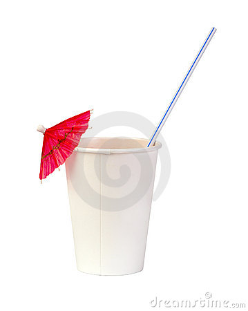 Paper cup with a straw and pink cocktail umbrella