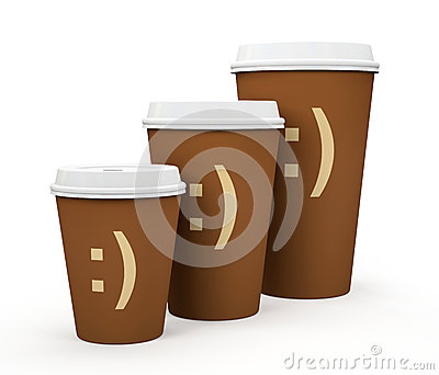 Paper cups of coffee