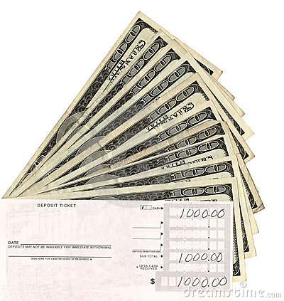 paper currency and deposit slip