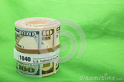 Paper currency roll 1040 form rubber band