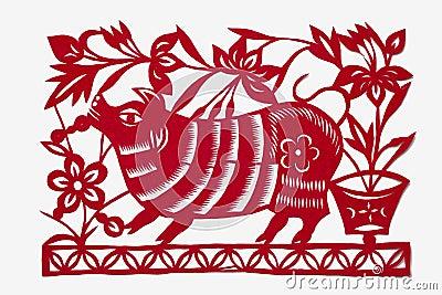 Paper-cut art of a pig