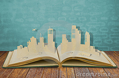 Paper cut of  cities with car and plane