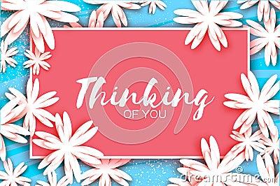 Paper cut flower greeting card. Rectangle frame Vector Illustration