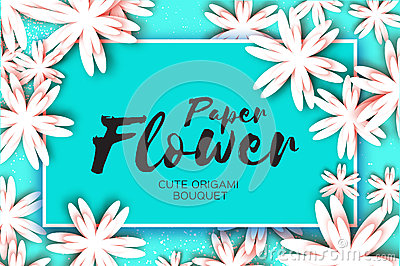 Paper cut flower greeting card. Rectangle frame Vector Illustration