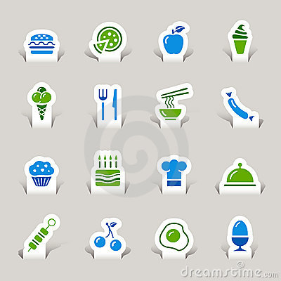 Free Paper Cut - Food Icons Royalty Free Stock Photography - 22134717