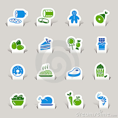 Free Paper Cut - Food Icons Royalty Free Stock Image - 22134736