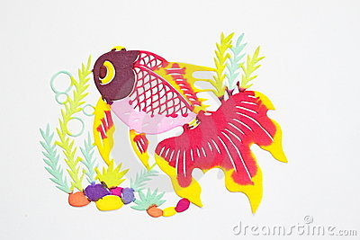 Paper-cut of golden fish