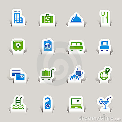 Free Paper Cut - Hotel Icons Royalty Free Stock Images - 22134739