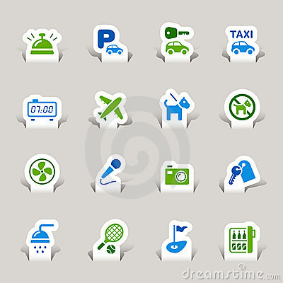 Free Paper Cut - Hotel Icons Royalty Free Stock Images - 22134749