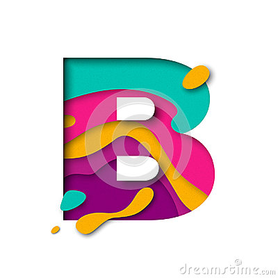 Free Paper Cut Letter B. Realistic 3D Multi Layers Papercut Isolated White Background Stock Photos - 96398943