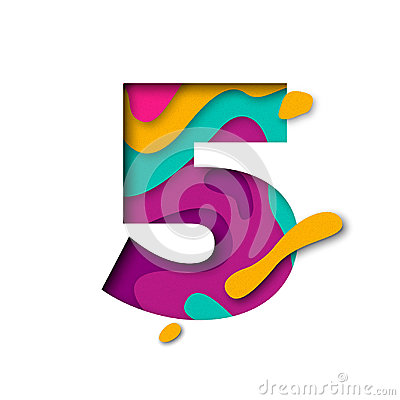 Free Paper Cut Number Five 5 Letter. Realistic 3D Multi Layers Papercut Effect Royalty Free Stock Photo - 96475145