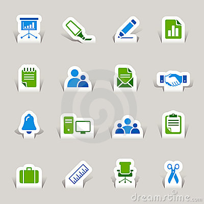 Free Paper Cut - Office And Business Icons Royalty Free Stock Photos - 22121498