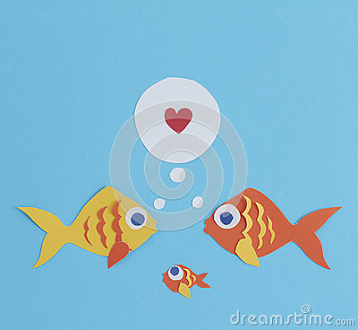 Free Paper Cut Out Fish Family Stock Photos - 39880063