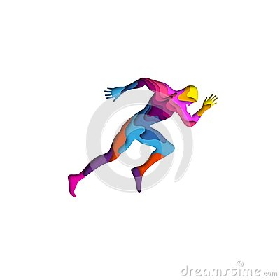 Free Paper Cut Sports Man Running Shape 3D Origami. Trendy Concept Fashion Design. Vector Illustration Royalty Free Stock Image - 114005136