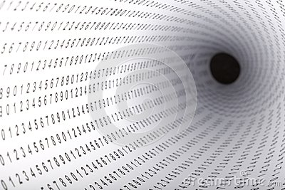 Paper with digits showing photo with shallow depth.