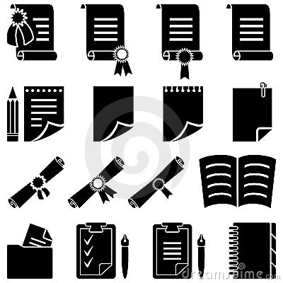 Free Paper Diploma And Sheet Icon Set Stock Photos - 15277883