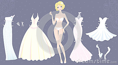 Paper doll of cute girl with wedding dresses