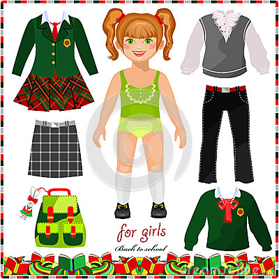 Paper doll with a set of clothes for school. Cute schoolgirl. Template ...