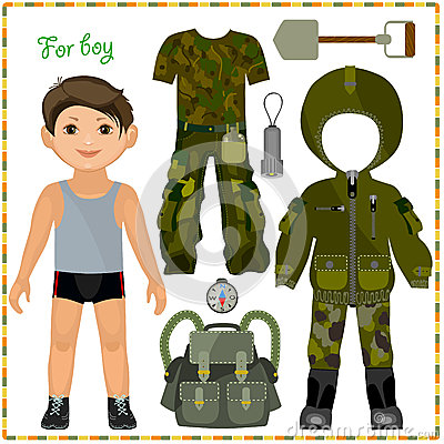 Free Paper Doll With A Set Of Clothes. Stock Image - 37732321