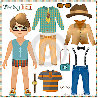 Free Paper Doll With A Set Of Clothes. Cute Hipster Boy. Royalty Free Stock Images - 37954939