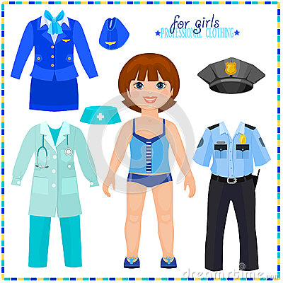 Free Paper Doll With A Set Of Professional Clothings. Stock Photos - 39088073