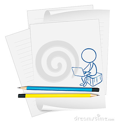 A paper with a drawing of a boy using a laptop