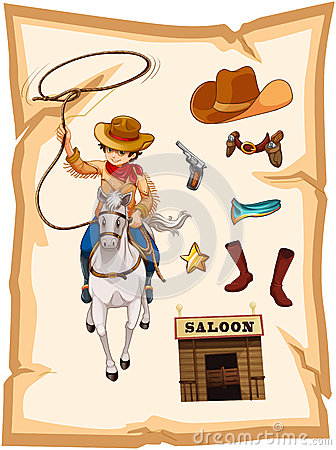 A paper with a drawing of a cowboy and a saloon bar