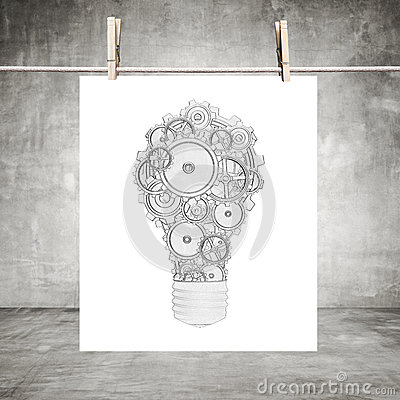 Paper with drawing lamp