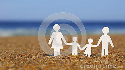 Paper Family on the beach. Family