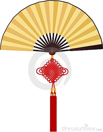 Paper fan with Chinese knotting