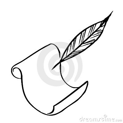 Paper with feather (Vector)