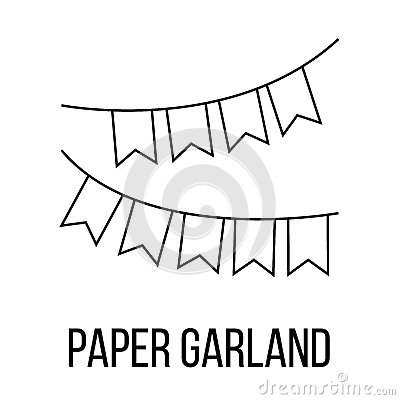 Paper garland icon or logo line art style. Vector Illustration