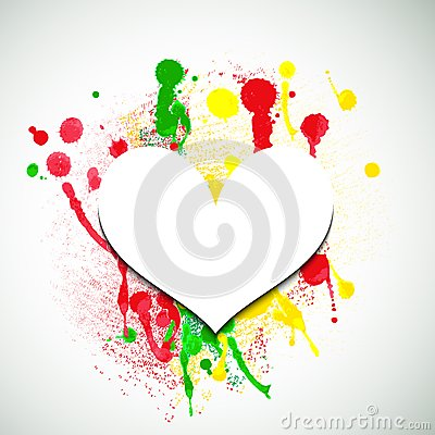 Free Paper Heart On Paint Splattered Background. Valentine Background. Royalty Free Stock Photos - 41387828