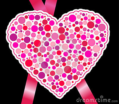 Paper heart with pink ribbon