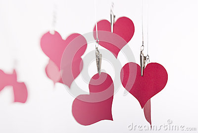 Paper hearts hanging