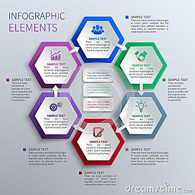 Paper hexagons infographics