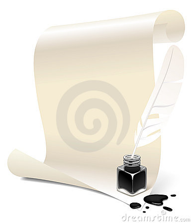Paper with an inkwell and feather