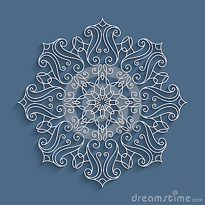 Paper lace doily, round crochet pattern Vector Illustration