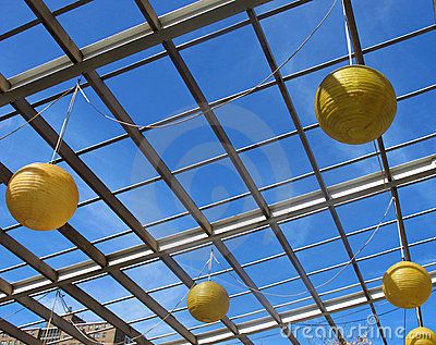 Round paper lanterns or lamps
