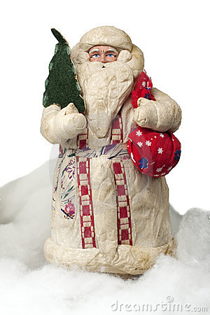 Paper-mache Santa Claus toy (with fir and sack)