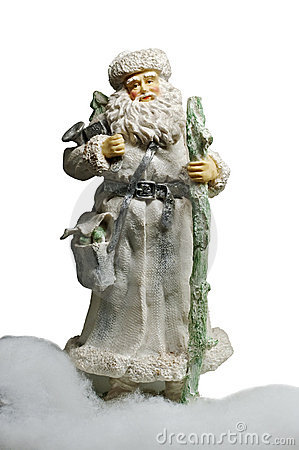 Paper-mache Santa Claus toy (with staff and bag)