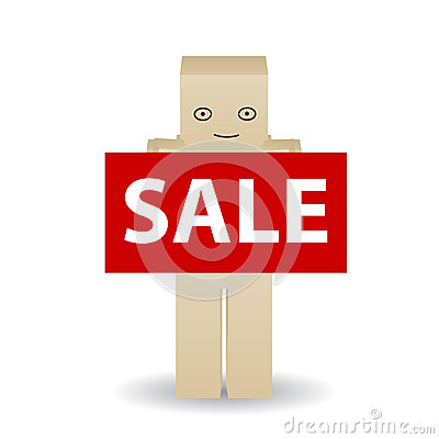 Paper man poster shows with a text sale