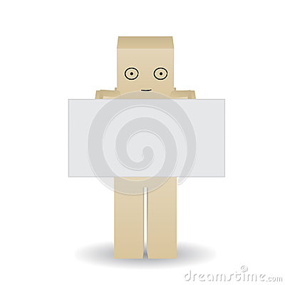 Paper man shows a blank poster