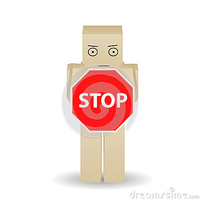 Paper man shows stop sign