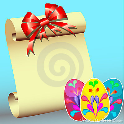 Paper for message with bow and  stickers